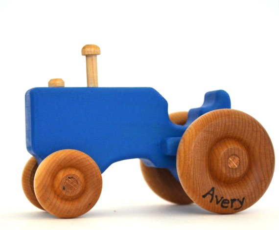 Personalized Blue Wooden Tractor