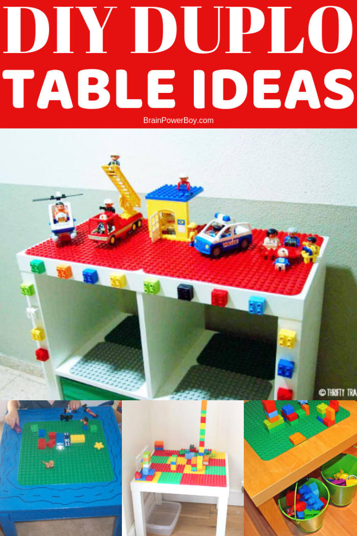 Here are some ideas for making your own DUPLO table! They are pretty cool and not hard to make. Your toddler and/or preschooler would love to have one I'm sure!