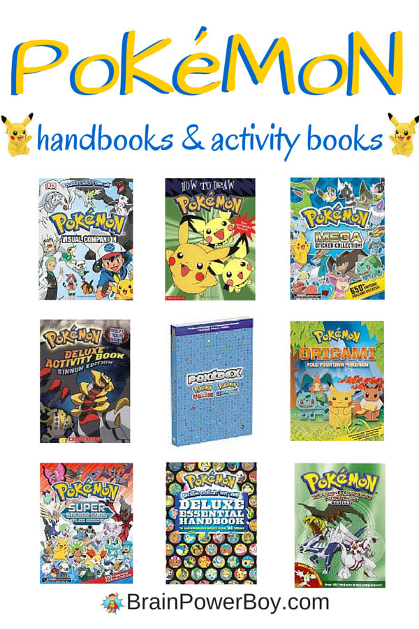 10 awesome Pokemon books that your Pokemon fan will love. There are handbooks, activity books, drawing books, origami books and more. Fun!