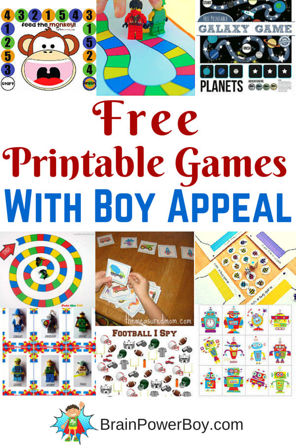 Free printable games for boys provide a great way to have fun and learn. Check out these printable games with boy appeal. Think: robots, LEGO, animals, bugs, space, vehicles and more.