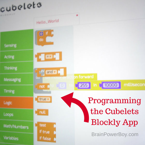 A quick peak at the Cubelets Blockly app. See the post for what it can do! (with ad Home Science Tools)