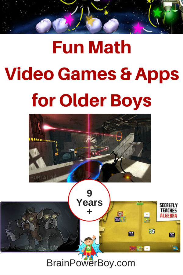 Ready to get your boy's mathematical thinking powered up? Try these 9 really fun math video games and apps chosen with older boys in mind.