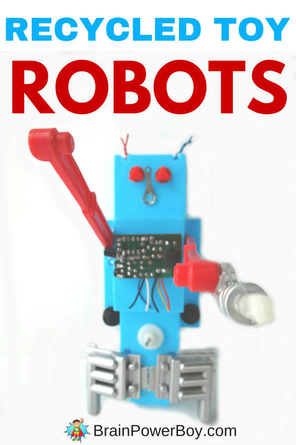 Reverse engineer toys to make your own recycled toy robot! This is a fun project packed with learning. Click image to see ideas for creating your robot as well as a free reduce, reuse and recycle homeschool unit study.