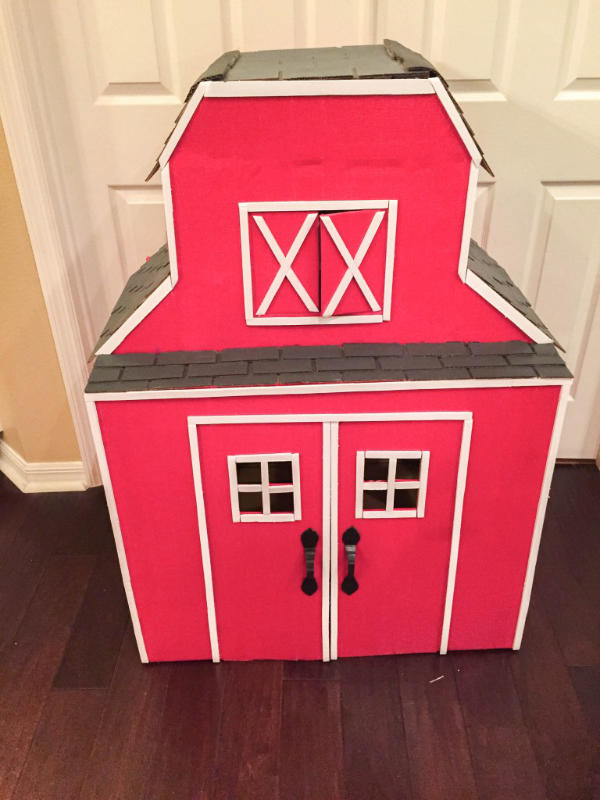 Red Barn Cardboard Playhouse
