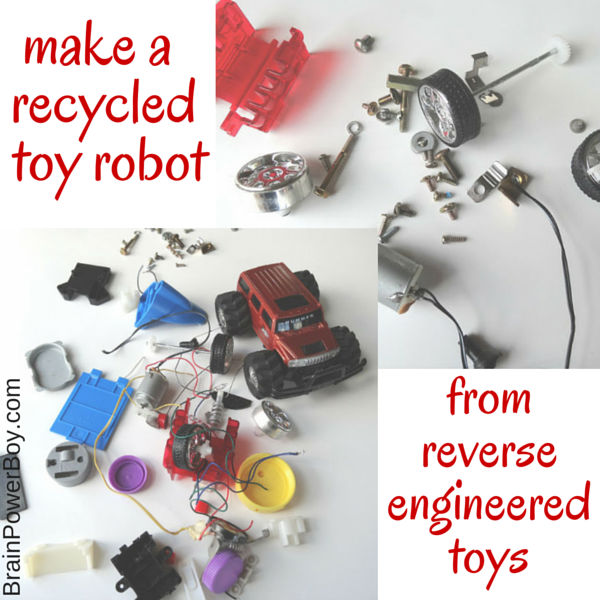 Reverse engineer toys and make recycled toy robots. Part of a free reduce, reuse and recycle homeschool unit study.