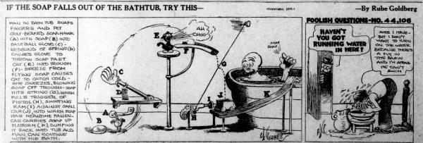 Rube Goldberg Machine Cartoon If the Soap Falls Out of the Bathtub Try This