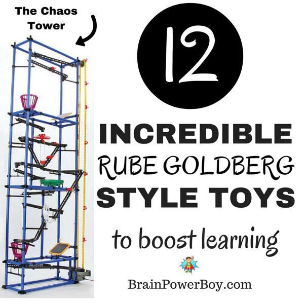 Awesome toys that will boost learning! These 10 Rube Goldberg™ style toys are incredible. Take a peak to see which ones your kids would like. We love Rube Goldberg Machines™!