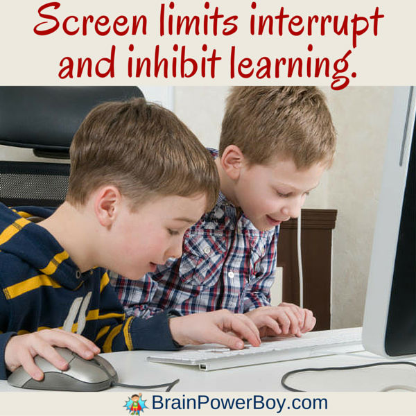 Be careful how much you limit screens. Screen limits interrupt and inhibit learning. Click to read more.