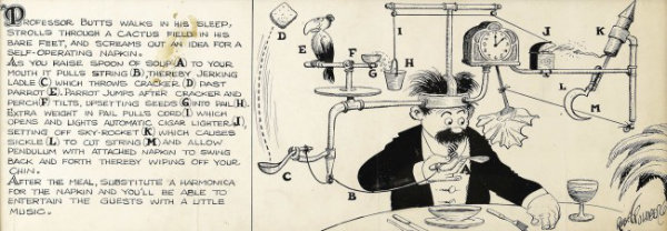 Self-operating napkin Image Rube Goldberg Cartoon