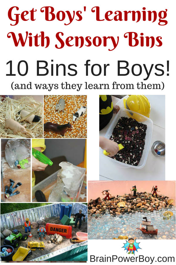10 sensory bins boys are really going to love. LEGO, Star Wars, dinosaurs, pirates, mining, farm, monster trucks and much more! Includes additional bins for older boys too. Click the picture to see the article.
