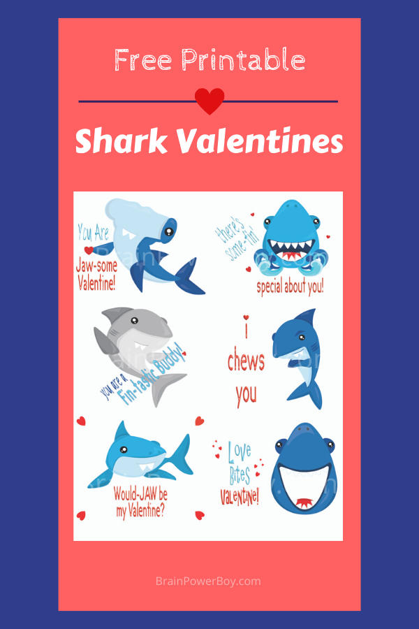 Shark fans will love these free printable shark themed valentines!