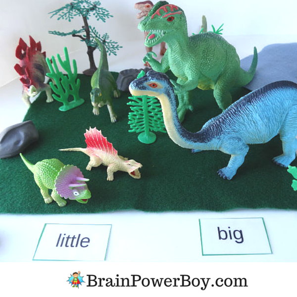Dinosaur sight word game with comparisons such as little and big, up and down and other preschool and kindergarten sight words including action words, colors and more. Free printable sight word game available on BrainPowerBoy.com