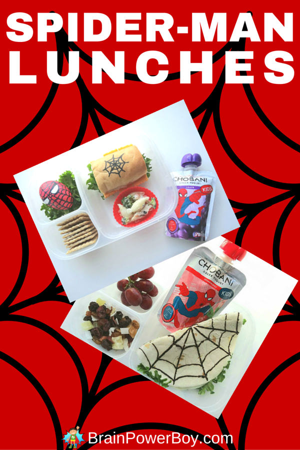 Spider-man lunches for your superhero! These lunches feature fun food to give your kids that extra protein punch they need to make it through their day including delicious Chobani Greek yogurt in a Spider-man pouch. Created by BrainPowerBoy.com sponsored by Chobani.