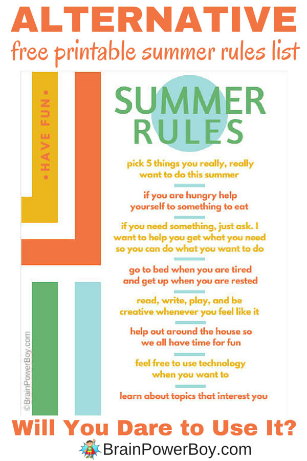 Try this alternative summer rules list for a kinder, happier summer. Read about how these alternative rules help kids learn and how the
