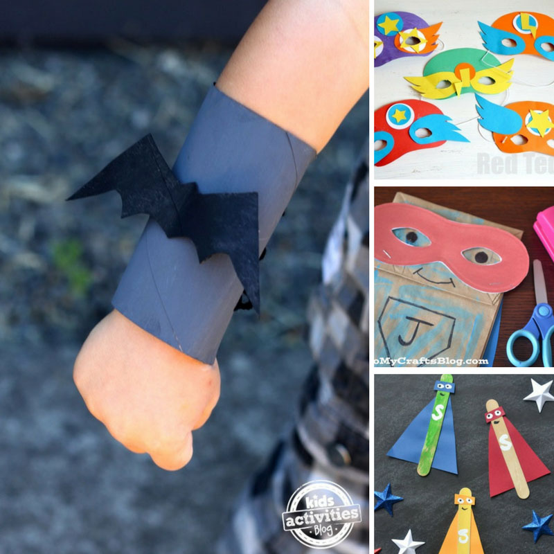 Superhero crafts for boys including masks, cuffs, capes, magnets, bookmarks, comic book ideas and much more! If you want to get him making crafts, you can't go wrong with superheroes!