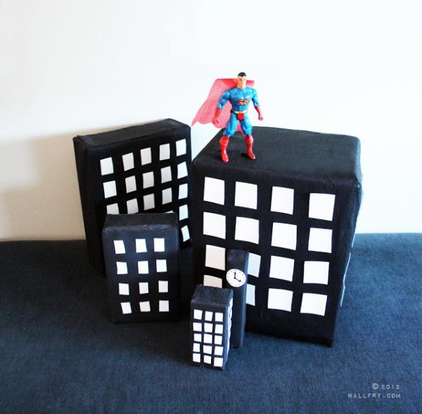 Superman Cardboard Buildings