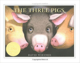 The Three Pigs is a romping tale of pigs gone wild as they escape the traditional fairy tale and slip out of the pages of the book.