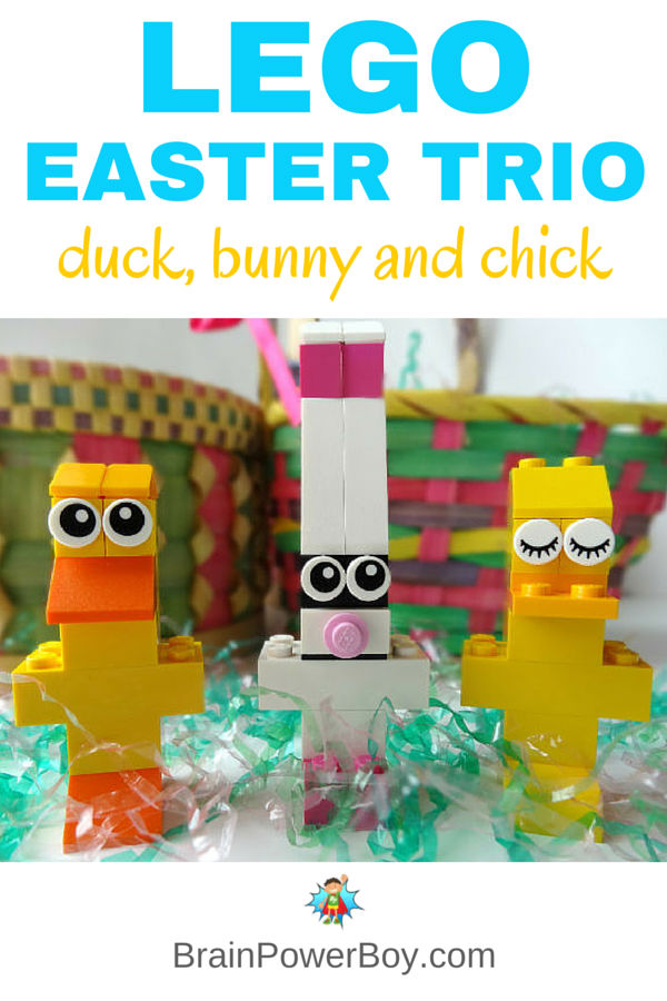 Make a cute (and easy) LEGO Easter Trio. LEGO Duck, LEGO Easter Bunny and LEGO Chick all included detailed instructions and pictures with building details. Grab a few bricks and make them today!