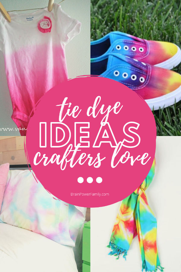 Tie dyed ideas with baby body suit, shoes, pillow, and scarf shown