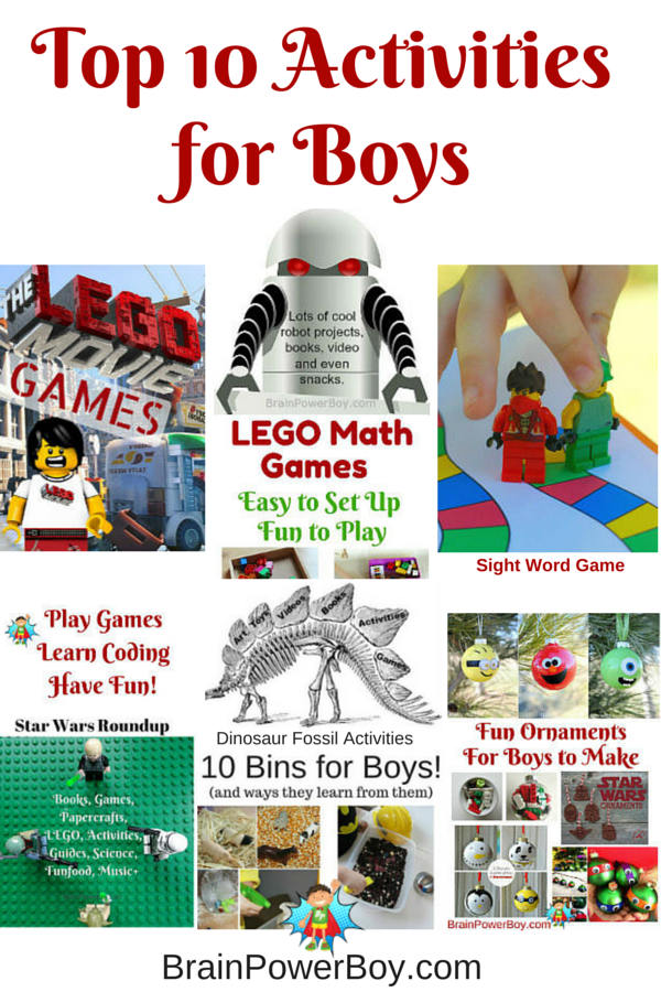 Find Top Activities for Boys! A great selection of activities boys will love including coding, Star Wars, Dinosaurs, Robots, LEGO, sensory bins, games, and much more.