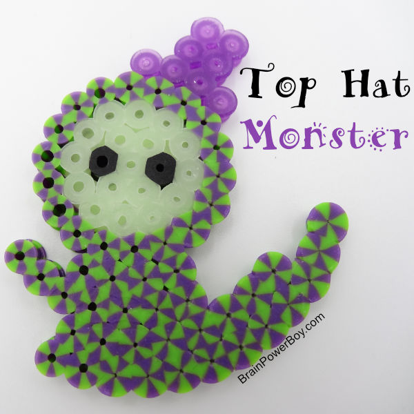 Completed striped monster wearing hat Perler Bead project.