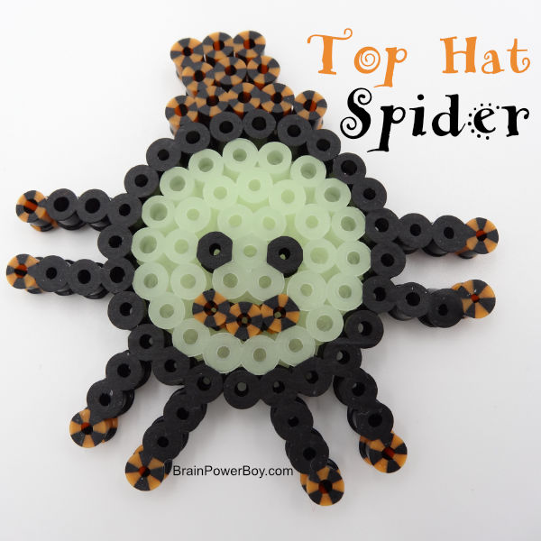 Top Hat Spider Perler bead project completed.