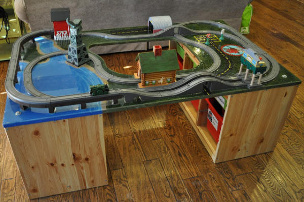 Train Table with Cutout in Middle
