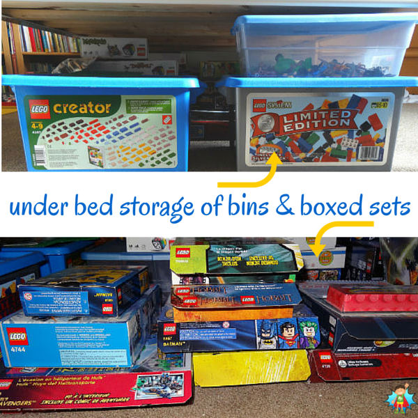 Use the space you have available to store and organize your LEGO. Here is an under the bed LEGO storage solution that works really well. See article for more method pictures and ideas.