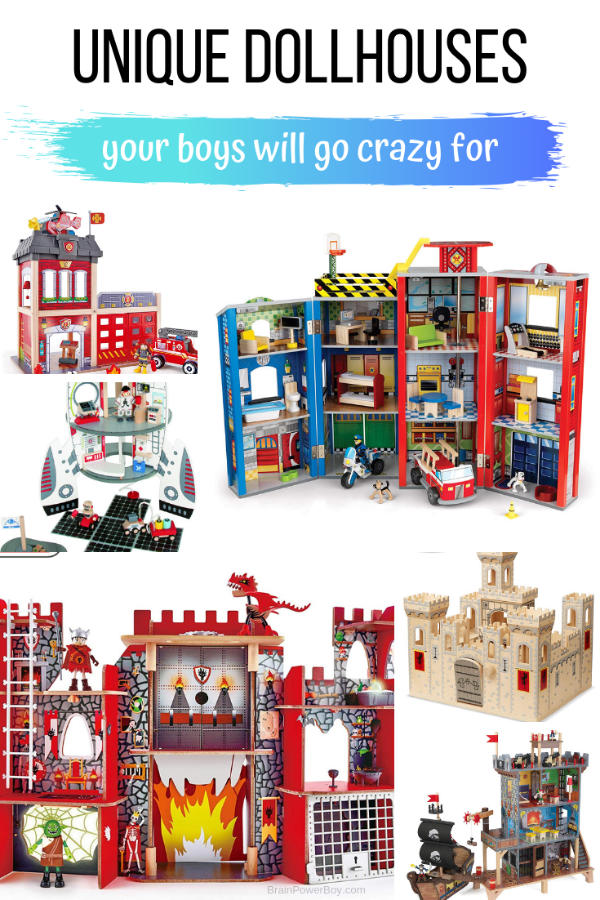 Unique and unusual dollhouses boy will go crazy for! From a firestation, to castles, superhero houses, a pirate playset and more these wooden houses are amazing! There is even a super cool space station shaped like a rocket!