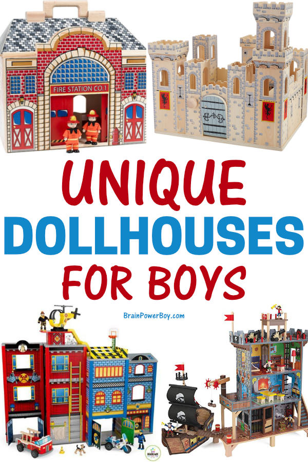 Unique Dollhouses for Boys. Firestation, Castle, Superhero house, Pirate dollhouse and more.