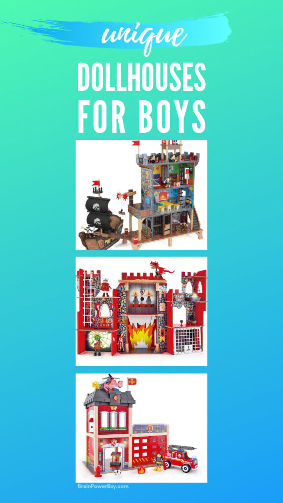Wonderfully unique dollhouse choices for boys!  They will really love these unusual wooden play sets. So many great ideas to choose from!