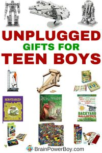Looking for inexpensive gifts for teenage boys? A cool non-electronic gift idea? Try these amazing unplugged gifts for teen boys! See boy-approved gift choices that they are going to love. All of these have a learning twist and as a bonus they are all under 20 bucks too. Click to see the complete list.
