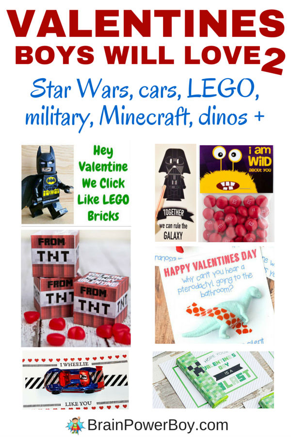 Valentines Boys Will Love #2! If you are looking for valentines for boys, this is the article for you. Click the image to see LEGO valentines, Minecraft valentines, Star Wars valentines, as well as valentines with dinos, cars, monsters and more. Free printable valentines are included. Enjoy!