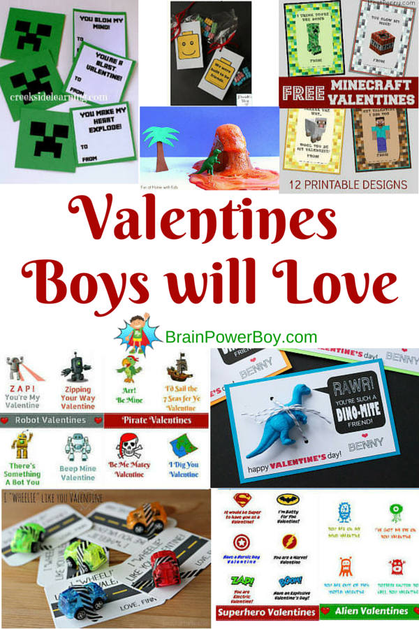 Big selection of Valentines perfect for boys. Superhero, alien, car, pirate, robot, dinosaur, Minecraft, and LEGO!