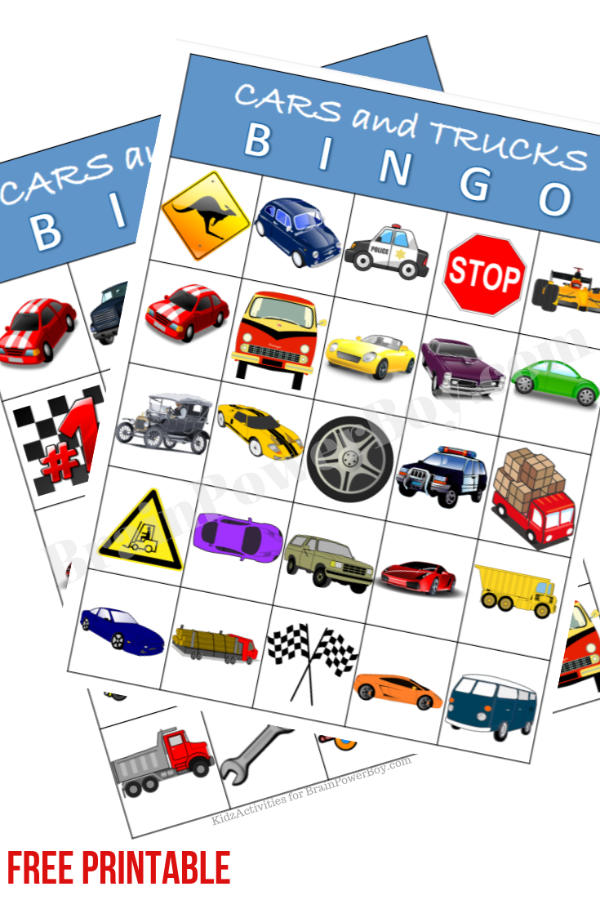 Free Printable Vehicles Bingo Game! Click or tap to go to the site to print it right now. Great for road trips! Vehicle fans love this one.