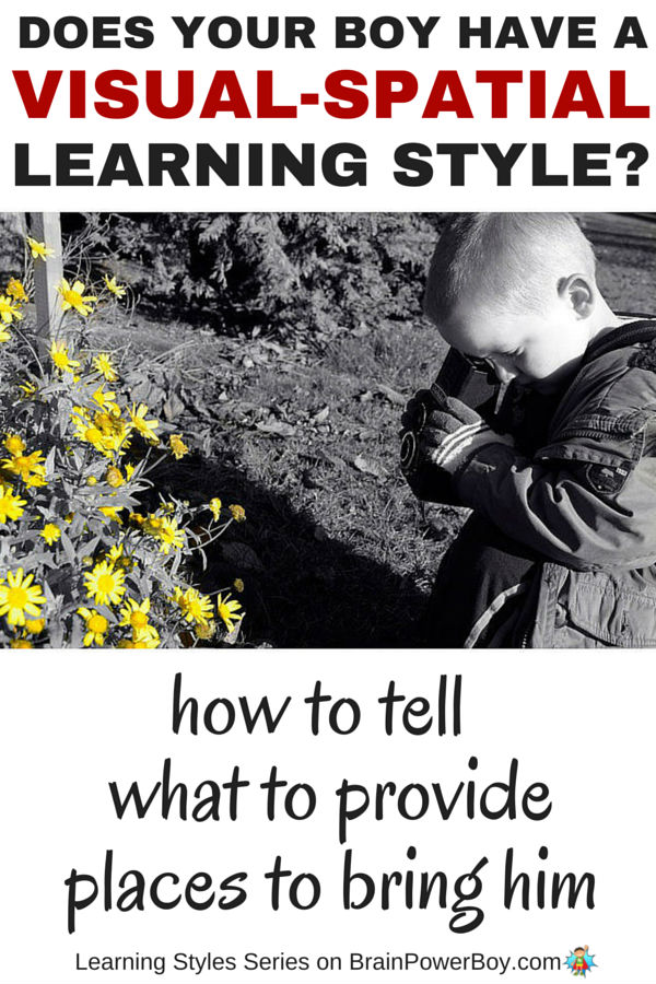 If you want to help your boy learn, take a look this series which delves into learning styles starting with information on the Visual-Spatial Learning Style. Find out if your boy has this learning style, what to provide him with, and places you can take him to honor the way he learns.