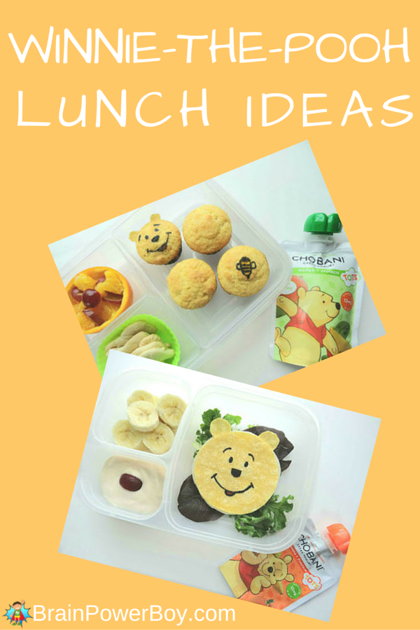 "Super cute fun food Winnie-the-Pooh lunch ideas. These two lunches are sure to satisfy those who get a little ""rumbly in their tumbly."" Quesadilla and muffin lunches both feature delicious Chobani Tots Greek Yogurt. Click the picture to learn how to make these fun food lunches. Created by BrainPowerBoy.com sponsored by Chobani."