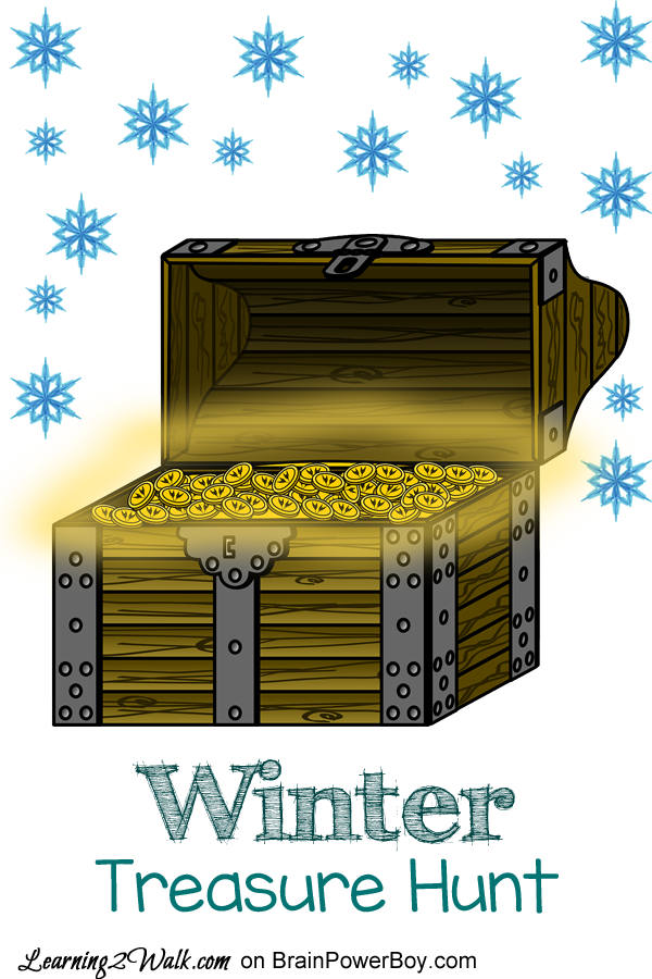 If it is too cold to play outside why not bring in a bit of snow (or use cotton balls) for a Winter Treasure Hunt.