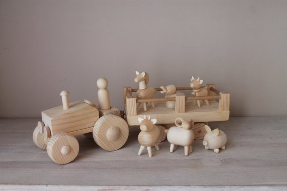 Wooden Farm Tractor with Trailer and Animals
