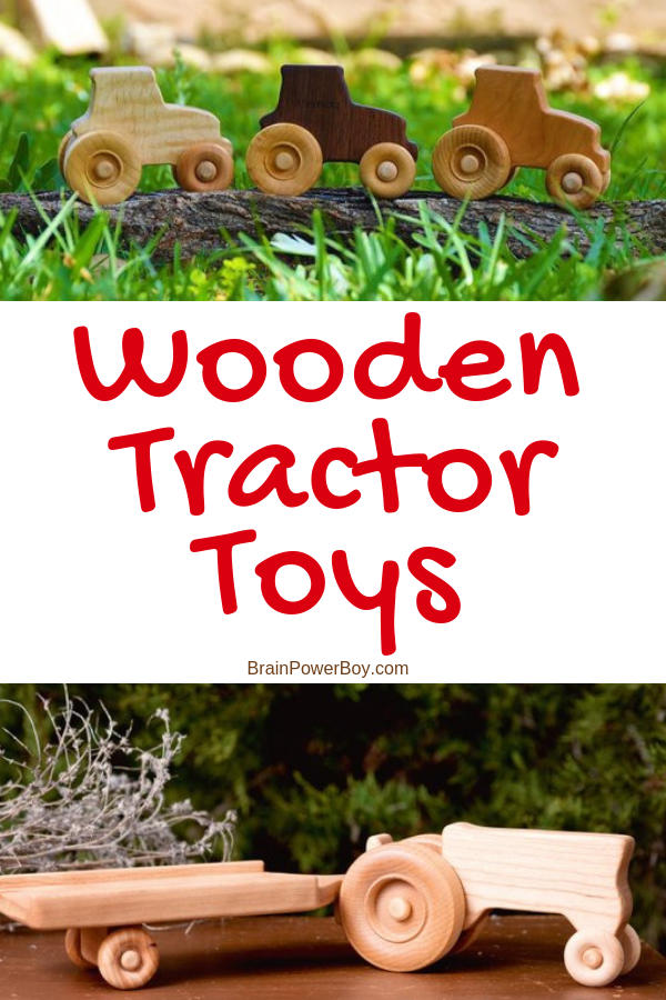These handmade wooden tractor toys are a must see. Great for open-ended play they will be used for years and years. If you like natural wood toys, you will love these tractors. They are just wonderful!