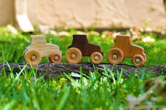 Wooden Tractor in Three Wood Types
