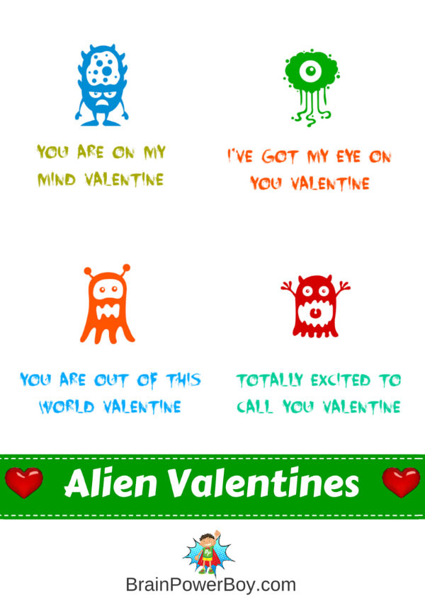 These free printable Alien Valentines are boy approved!