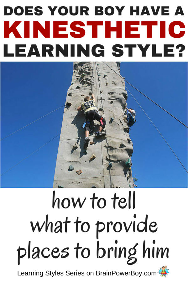Does your boy have trouble sitting still? Is he always on the move or doing something with his hands? If so, he may have a bodily-kinesthetic learning style. Find out more about this style, things to provide for your boy and places to take him to honor his learning style. Click picture to read article.