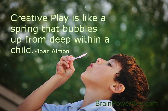 Boy Blowing Bubbles Creative Play is like a spring that bubbles up from deep within a child