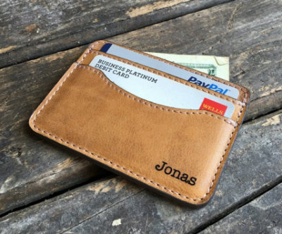 Handmade leather slim wallet credit card holder