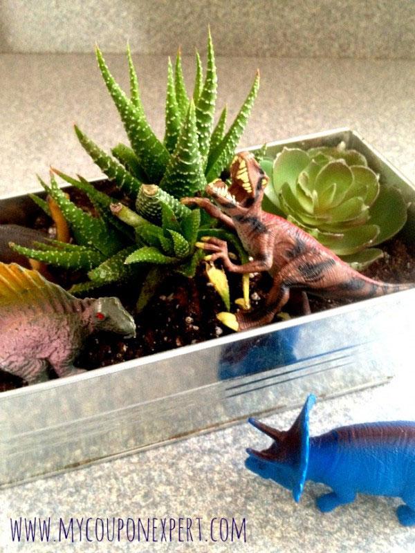 This container dinosaur garden is the perfect fairy garden for boys