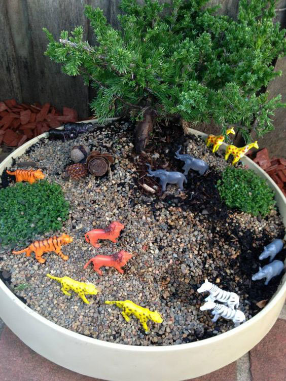 Safari Small World in a Planter