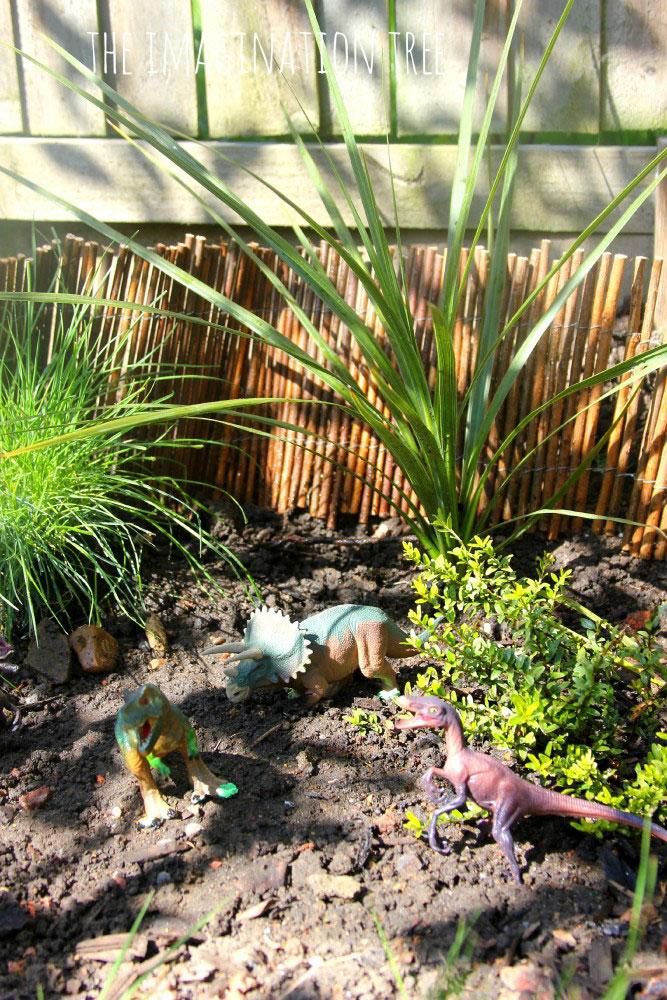 Small World dinosaur garden for boys encourages play in the garden
