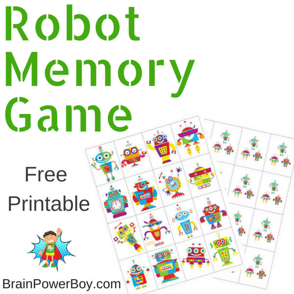 Printable Games for Kids: Robot Memory Game