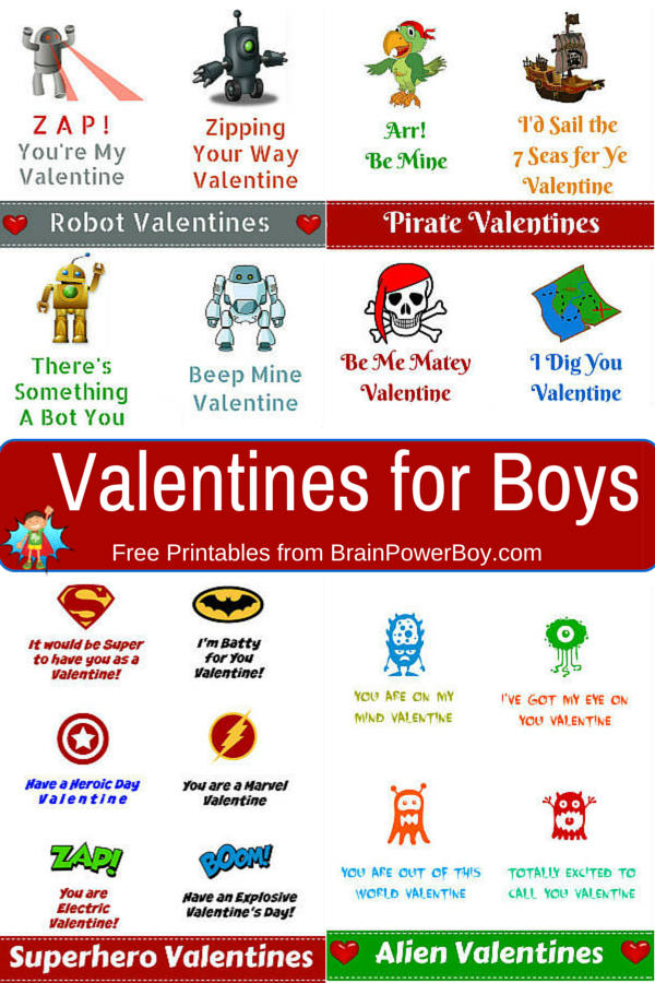 picture about Valentines Free Printable identify Totally free Printable Valentines for Boys - Mind Electric power Boy